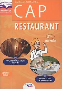 CAP restaurant 2e année : Technologie de restauration, commercialisation des vins
