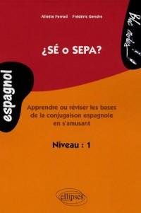 Sé o sepa ? : Apprendre ou réviser les bases de la conjuguaison espagnole en s'amusant, niveau 1