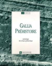 Gallia Préhistoire, numéro 45 - 2003 : Archéologie de la France préhistorique