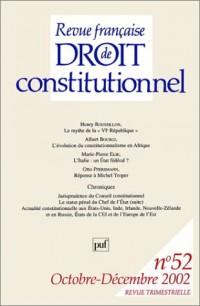 Revue française de droit constitutionnel, numéro 52