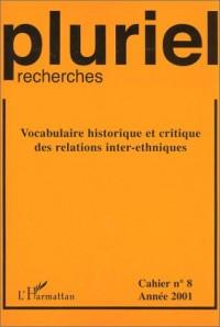 Pluriel-recherches , cahier numéro 8 : Vocabulaire historique et critique des relations inter-ethniques