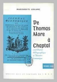 De Thomas More à Chaptal : contribution bibliographique à l'histoire économique