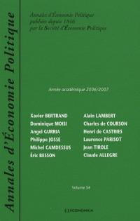 Annales d'Economie Politique, N° 54 : Année académique 2006/2007