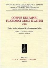 Corpus Dei Papiri Filosofici Greci E Latini