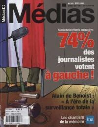 Médias, N° 33, été 2012 : 74 % des journalisres votent à gauche