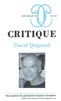 Critique 721-722 - Pascal Quignard