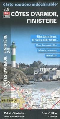Côtes-d'Armor (22), Finistère (29). Carte Départementale Routière et Touristique