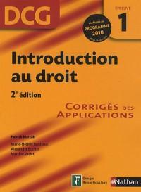 DCG Épreuve 1 : Introduction au droit - Corrigés des applications