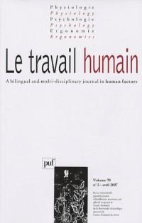 Le travail humain, N° 2 - Vol. 70 :