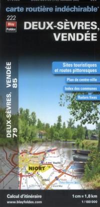 Deux Sevres (79), Vendée (85) - Carte Routiere Departementale Touristique D222 1/180000