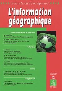 L'information géographique, Volume 67 Juin 2003 : Ecotourisme littoral et croisières