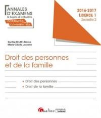 Annales et sujets d'actualité corrigés 2017 : Droit civil : personnes, famille L1 S2