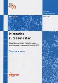 Information et communication 1e STG : Programmes