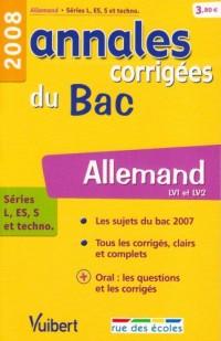 Allemand séries L, ES, S et techno : Annales corrigées du Bac