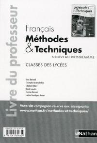 Français (Methodes et Techniques) Classes des Lycées Professeur 2011