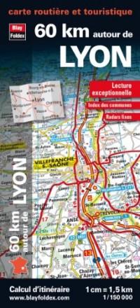 60 km autour de Lyon, carte routière et touristique