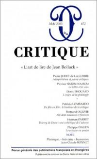Critique, numéro 672 : L'art de lire de Jean Bollack