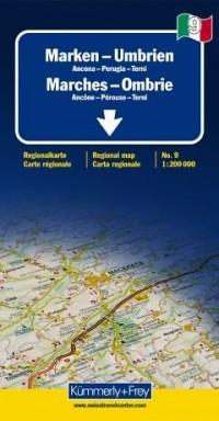 Marches - Ombrie (Ancône, Pérouse, Terni) - Carte régionale Italie (échelle : 1/200 000)