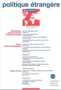Politique étrangère 2 (2003), mondialisation, politiques nationales et gouvernance globale: afrique