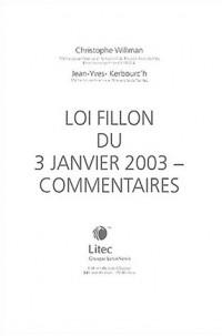 Loi Fillon du 3 janvier 2003 : Commentaires (ancienne édition)