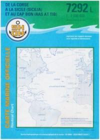 Carte marine : De la Corse à la Sicile