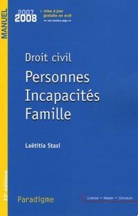 Droit civil : Personnes Incapacités Famille