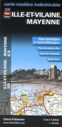 Ille et Vilaine (35), Mayenne (53) - Carte Routiere Departementale Touristique D209 1/180000
