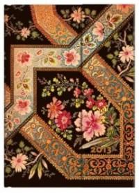 Paperblanks agenda filigrane floral Ébène midi 130x180 mm 1 semaine sur 2 pages à la vertical Janvier 2013 à Décembre 2013
