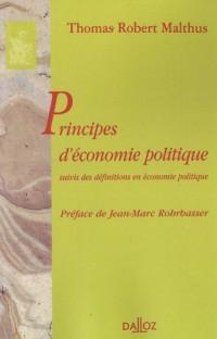 Principes d'économie politique : Suivis des définitions en économie politique