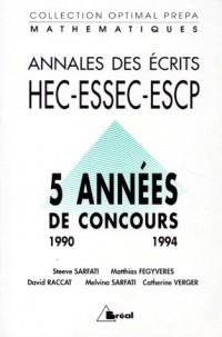 Annales ecrit maths hec 90-94 (gene)