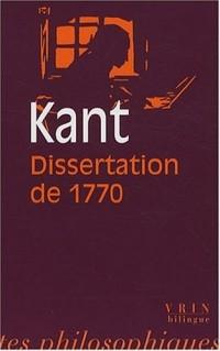 La Dissertation de 1770