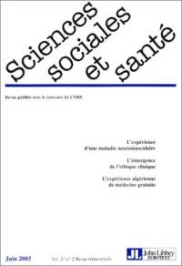 Sciences sociales et santé, volume 21, numéro 2