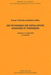 Techniques installations sanitaires thermiques : Brevet d'etudes professionnelles