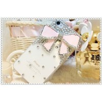 3d affaire Bling Bow Transparent pour Apple iPhone 4 et 4s (rose)