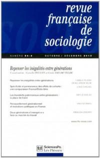 Revue française de sociologie, N° 54-4, Octobre-décembre 2013 : Repenser les inégalités entre générations