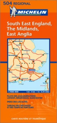 Carte routière : South East England, The Midlands, East Anglia, N° 11504 (en anglais)