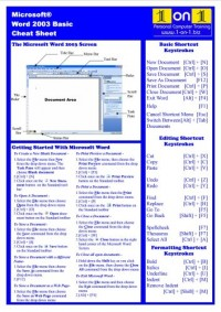 Microsoft Word 2003 Basic Cheat Sheet