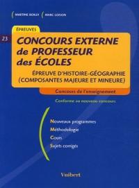 Concours externe de professeur des écoles : Epreuve d'histoire-géographie (composante majeure et mineure)