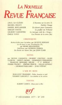 La Nouvelle Revue Française, N° 299, Décembre 1977