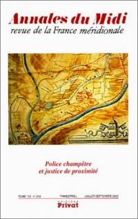 Annales du Midi, numéro 243 : Police champêtre et justice de proximité