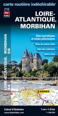 Loire Atlantique (44), Morbihan (56). Carte départementale, routière et touristique (échelle : 1/180 000)