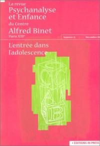 La Revue psychanalyse et Enfance du centre Alfred Binet, numéro 31 - Décembre 2002 : L'Entrée dans l'adolescence