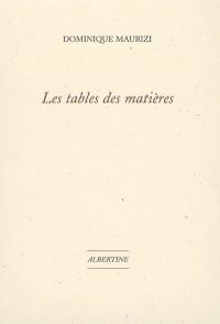 Les tables des matières