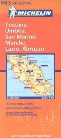 Carte routière : Toscana, Umbria, Lazio, Marche, Abruzzo, Republica di San Marino, N° 11563 (en italien)