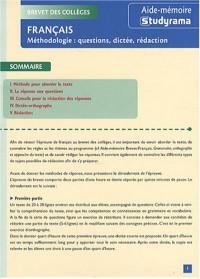 Brevet des collèges Français : Méthodologie : questions, dictée, rédaction