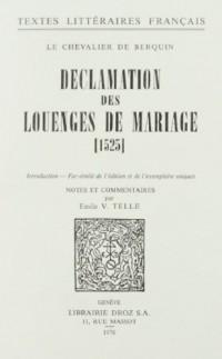 Declamation des Louenges de Mariage : 1525