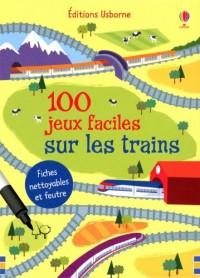 100 Jeux Faciles Sur les Trains - Fiches Nettoyables et Feutre