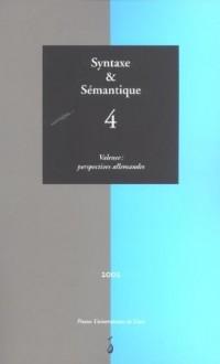 Syntaxe et Sémantique 4 Valence Perspectives Allemandes