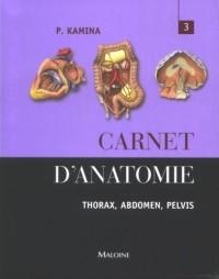 Carnet d'anatomie. : Tome 3 : Thorax, abdomen, pelvis