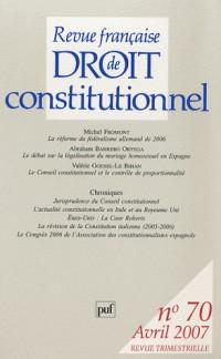 Revue française de Droit constitutionnel, N° 70